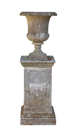 vintage stone garden urn on plynth isolated on white