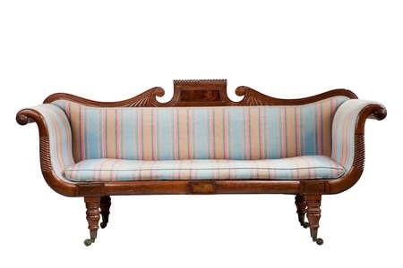 divano in stile antico vintage divano imbottito isolato su bianco Archivio Fotografico