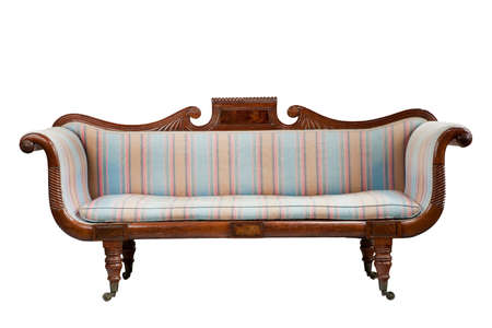 vintage antique style sofa couch upholstered isolated on white 免版税图像 - 131364129