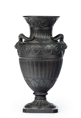 Vintage Greek or Roman vase, amphora ornament in black isolated on white 免版税图像 - 131719740