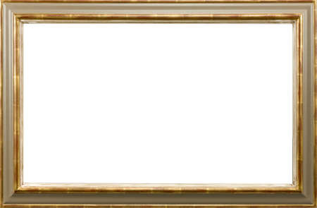 old gold wooden picture frame isolated on white background 免版税图像
