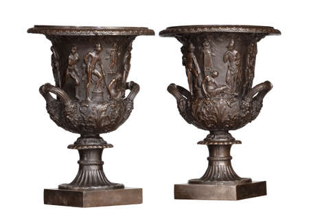 Pair of black greek or Roamn style urns with Roman style figures isolated on white 免版税图像 - 131728423