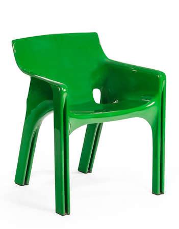 green plastic stackable outdoor patio garden arm chair