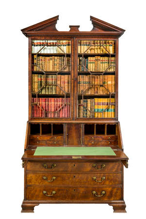 Beautiful old wooden bookcase bureau open isolated on a white background.