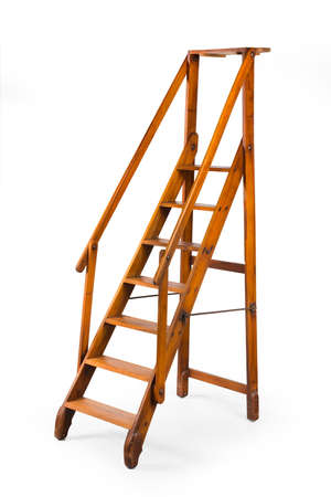 Vintage tall library wooden stepladder self standing isolated on white 免版税图像 - 132101351