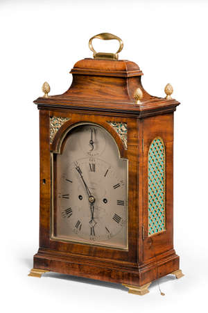 Lovely antique walnut bracket clock isolated on white background unkown maker