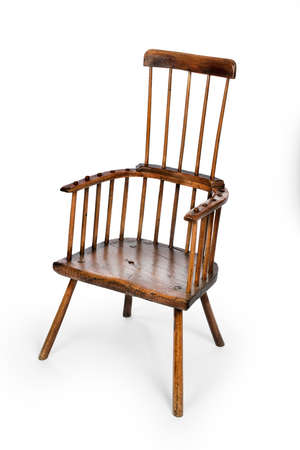 antique windsor comb back chair old made of beech and elm seat 免版税图像 - 132877647