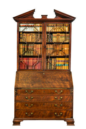 Vintage old wooden bureau bookcase with books closed isolated on a white background. 免版税图像 - 132883102