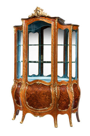 Vintage French style display cabinet with ormolu gold mounts isolated on white 免版税图像