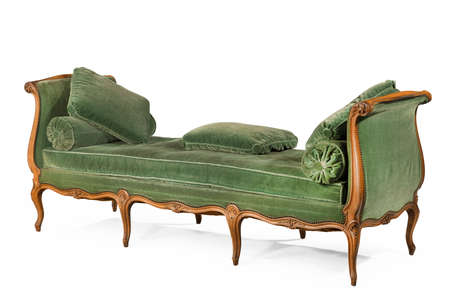 Wooden sofa with green upholstery isolated on white 免版税图像