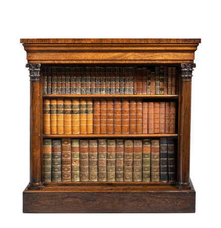 old vintage low small open bookcase English rosewood with books isolated on white 免版税图像 - 136191860