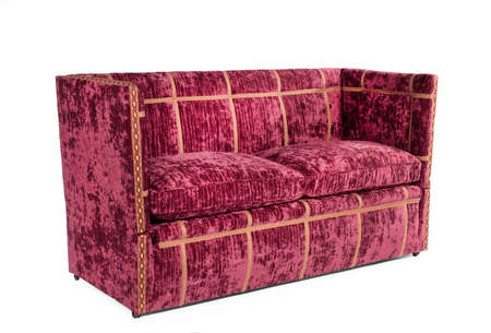 vintage antique red upholstered couch sofa isolated on white 免版税图像