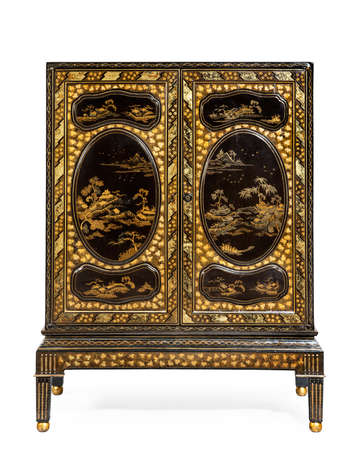 Vintage highly decorated Oriental Lacquered Cabinet isolated on white