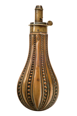 Antique gunpowder flask been used by soldiers. 免版税图像