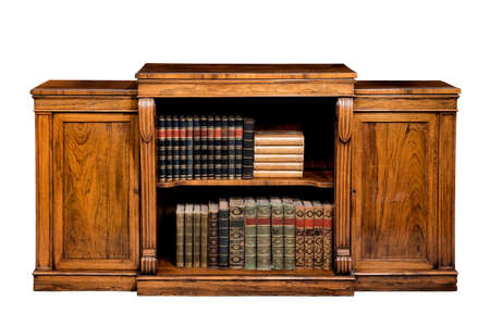 fine low bookcase with cupboards made of mahogany wood isloated on white background 免版税图像 - 137272349