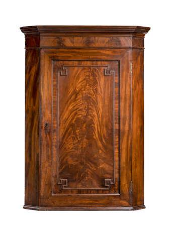 vintage mahogany hanging wall corner cupboard 免版税图像