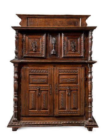 old vintage antique buffet sideboard carved with drawers isolated on white.