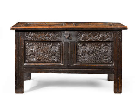 beautiful old antique coffer trunk chest carved in oak