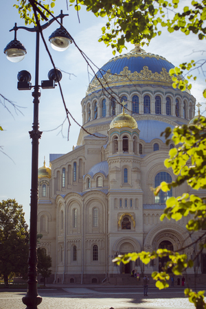 outpost: St. Nicholas naval Cathedral in August Sunny morning in the city of Kronstadt Stock Photo