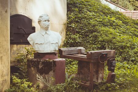 gorky: The broken monument to Maxim Gorky about Abandoned protective bunker on the military-historical site of Fort Krasnaya Gorka Editorial