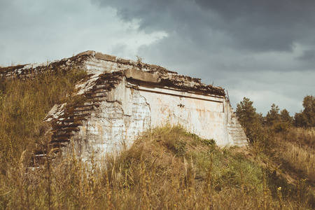 outpost: Abandoned protective bunker on the military-historical site of Fort Krasnaya Gorka
