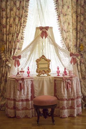 powder room: Powder room in pink style of the Grand Menshikov Palace in Lower garden of the Palace and Park ensemble of Oranienbaum in Lomonosov