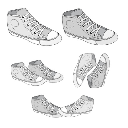 80 90: Classic sneaker sketched. Vector, fully editable. Set of sport shoes or sneakers icons in different views. Footwear and lace, clothing and street style Illustration