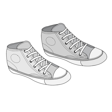 Classic sneaker sketched. Vector, fully editable. Set of sport shoes or sneakers icons in different views. Footwear and lace, clothing and street style Illustration