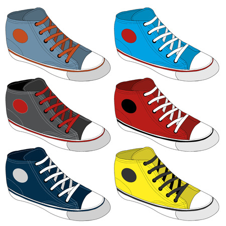 sketched icons: Classic sneaker sketched. Vector, fully editable. Set of sport shoes or sneakers icons in different views. Footwear and lace, clothing and street style Illustration