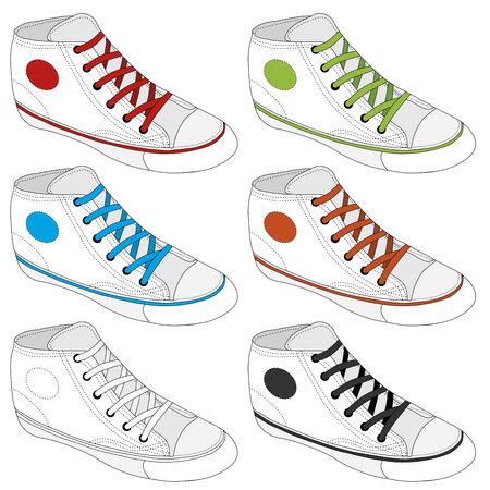 sketched icons: Zapatilla de deporte cl�sico esbozado. Vector, completamente editable. Conjunto de zapatos de deporte o zapatillas de deporte iconos en diferentes puntos de vista. Calzado y encajes, ropa y estilo de la calle