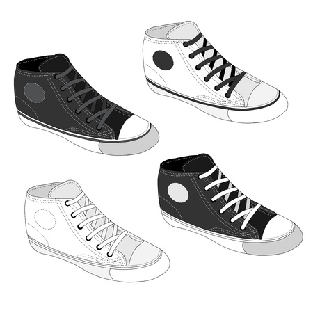sketched icons: Classic sneaker sketched. Vector, fully editable. Set of sport shoes or sneakers icons in different views. Footwear and lace, clothing and street style Vectores