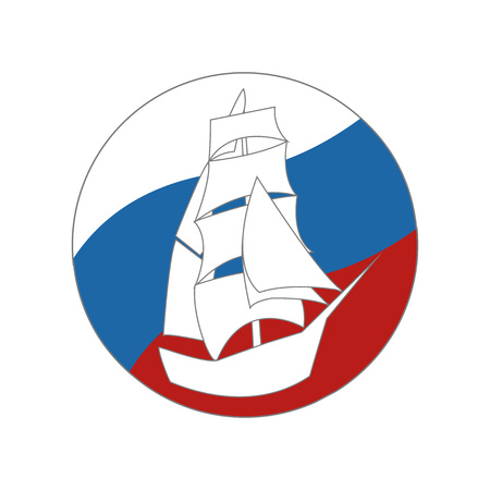 galley: Vintage Ship Sailing Boat design vector template. Ancient Pirate Sailboat silhouette concept icon. On the background of flags of Russia