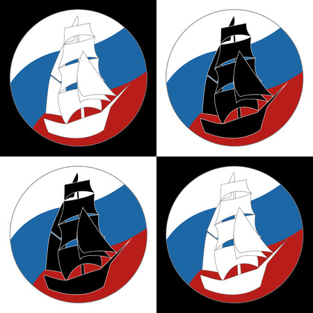 tall ship: Vintage Ship Sailing Boat design vector template. Ancient Pirate Sailboat silhouette concept icon. On the background of flags of Russia