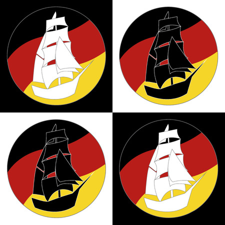 brigantine: Vintage Ship Sailing Boat design vector template. Ancient Pirate Sailboat silhouette concept icon. On the background of flags of Germany