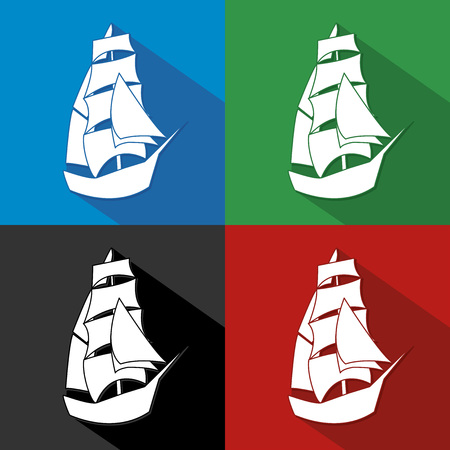 galley: Vintage Ship Sailing Boat design vector template. Ancient Pirate Sailboat silhouette concept icon. On the color background