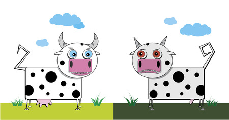 hoofs: Vector illustration of a bull and cow on the nature