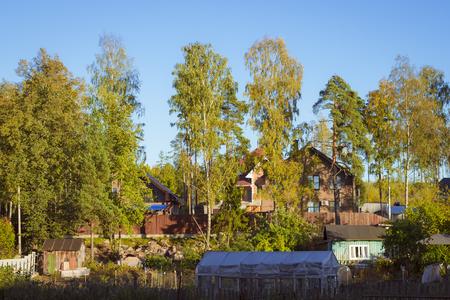 vyborg: VYBORG, RUSSIA - OCTOBER 3, 2015: Country house in elite cottage settlement, evening, Kirov villas, Vyborg, Russia