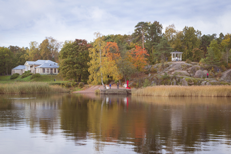 vyborg: VYBORG, RUSSIA - OCTOBER 4, 2015: Manor house in 1804, architects - DAMartinelli, A. Pavlov in Monrepos Mon Repos landscape park at Vyborg, Russia