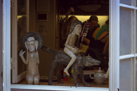 troll dolls: TALLINN, ESTONIA - YUNI 14, 2015: Toy in a window on one of the Central streets, Tallinn, Estonia