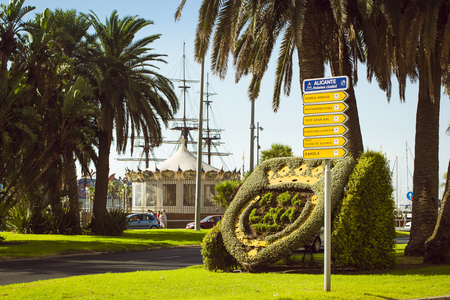plaza of arms: A flower bed with coat of arms on Plaza Puerta del Mar in Alicante, Valencia, Spain