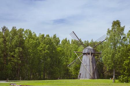 The Windmill in Museum Estonian open air, Vabaohumuuseumi kivikulv, Rocca al Mare, Tallinn, Estonia