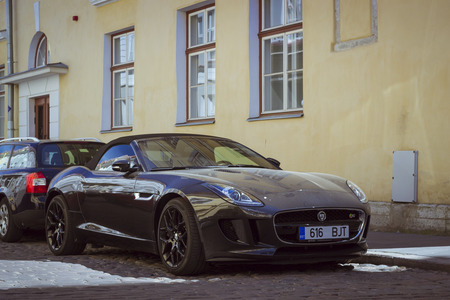 TALLINNESTONIA - JUNE 14, 2015: Jaguar Car on the street of the old town, Tallinn, Estonia