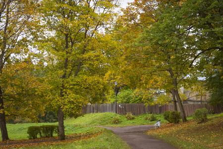 vyborg: VYBORG, RUSSIA - OCTOBER 4, 2015: Autumn Monrepos Mon Repos landscape park at Vyborg, Russia