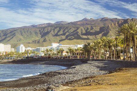 the americas: TENERIFE, SPAIN - JANUARY 12, 2013: Panoramic view of the popular canarian resort Playa de Las Americas, Tenerife, Canary Islands, Spain