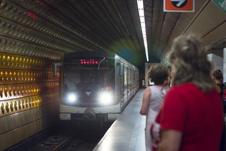 arrives: PRAGUE, CZECH REPUBLIC - AUGUST 27, 2015: High-speed train arrives at the subway station, Prague, Czech Republic