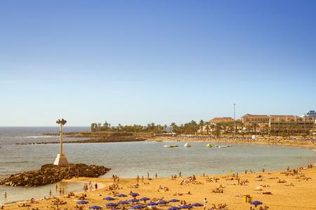 vistas: TENERIFE, SPAIN - JANUARY 17, 2013: Playa de Las Vistas beach in Los Cristianos, Tenerife, Canary Islands, Spain Editorial
