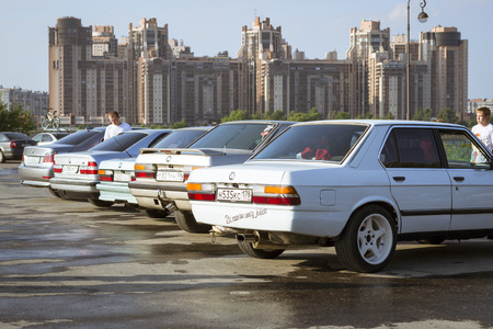 automaker: SAINT-PETERSBURG, RUSSIA - AUGUST 3, 2013: Old-car BMW 3-series e30 at the meeting, fans of the Bavarian automaker, Krestovsky island, St. Petersburg Editorial