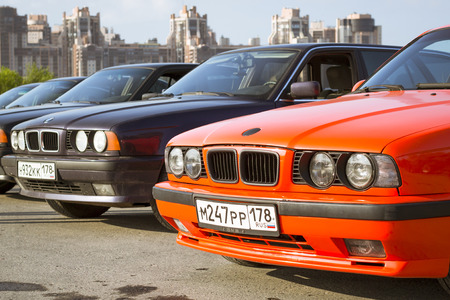automaker: SAINT-PETERSBURG, RUSSIA - AUGUST 3, 2013: Old-car BMW 5-series e34 at the meeting, fans of the Bavarian automaker, Krestovsky island, St. Petersburg Editorial