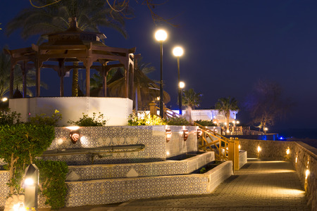 sharm el sheikh: SHARM EL SHEIKH, EGYPT - FEBRUARY 19, 2014: February night in Sharm-El-Sheikh, Ennobled territory of the hotel Beach Albatros resort, Sharm El Sheikh, Egypt