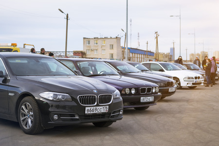 automaker: SAINT-PETERSBURG, RUSSIA - APRIL 5, 2014: BMW cars 5-series at the meeting fans of the Bavarian automaker, St. Petersburg, Russia Editorial